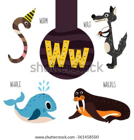 fun animal letters alphabet development learning stock