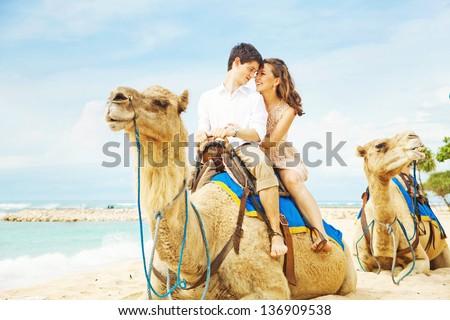 fun camel ride - stock photo