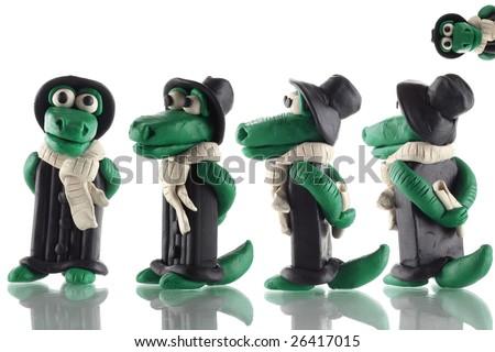 Fun cartoon plasticine crocodile - stock photo