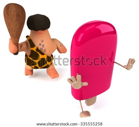 Fun caveman - stock photo