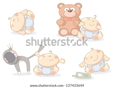 fun cheerful babies set - raster copy of vector image