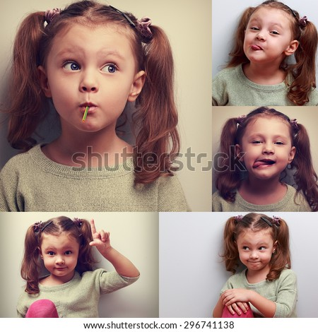 Fun collage (collection) of happy kid girl with humor different emotions. Showing tongue, sucking the candy - stock photo