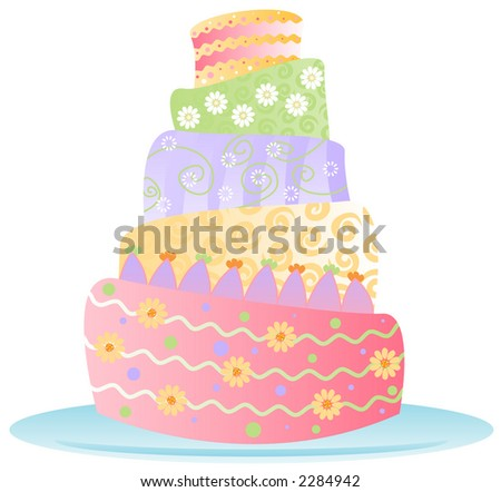 Fun, colorful birthday cake decked out in stripes, polka-dots, swirls and flowers... isolated on white for easy use -- includes clipping path - stock photo