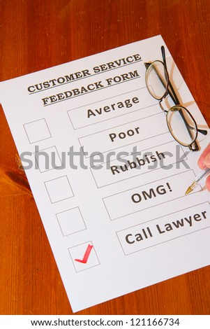 Fun Customer Service Feedback Form with `Call Lawyers` checked - stock photo