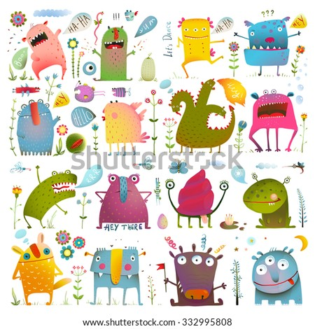 Fun Cute Cartoon Monsters for Kids Design Collection. Vivid fabulous incredible creatures design elements big bundle isolated on white. Raster variant. - stock photo