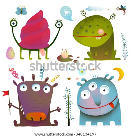 Fun Cute Little Monsters for Kids Design Colorful Collection. Amazing fictional creatures design elements isolated on white. Raster variant.