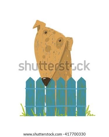 Fun Farm Cute Dog Sitting over Fence. Cartoon countryside doggy friendly looking. Raster variant. - stock photo