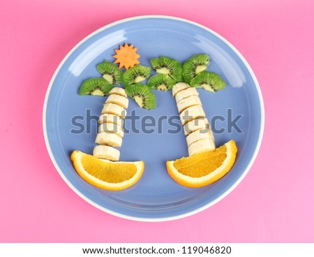 fun food for kids on color background