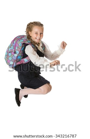 Fun girl schoolgirl jumps at the break - Isolated on white background