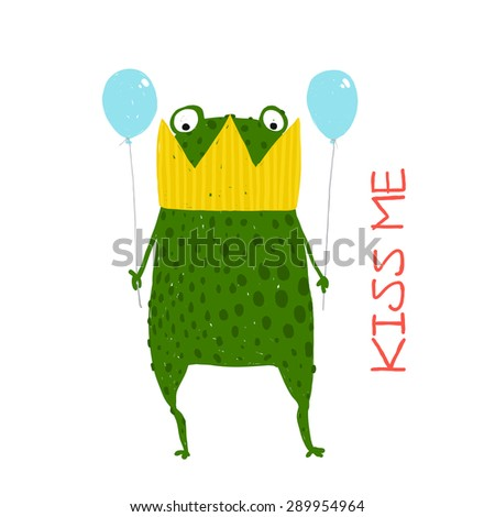 Fun Green Magic Frog Prince Got Stuck in Crown. Cute bizarre humor fairy tale creature hand drawn illustration. Raster variant. - stock photo