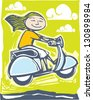 Fun image of a girl on a scooter going over bumps. - stock vector
