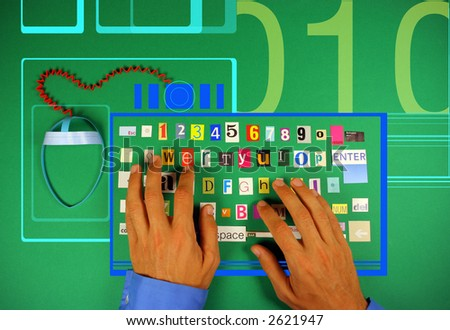 fun image of hands typing on a pretend keyboard made from letters found in different magazines and a mouse made from paper - stock photo