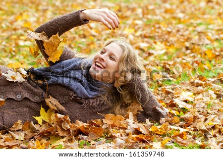 Fun in autumn - stock photo
