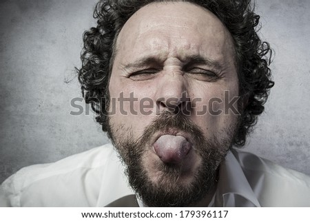 Fun, man in white shirt with funny expressions