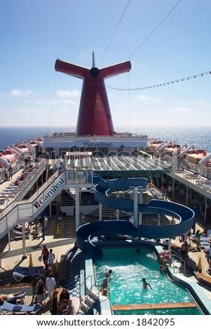 Fun on the Carnival Cruise Ship, Paradise - stock photo