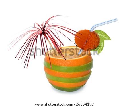 Fun orange and apple cocktail over white - stock photo
