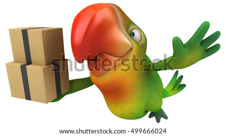 Fun parrot - 3D Illustration