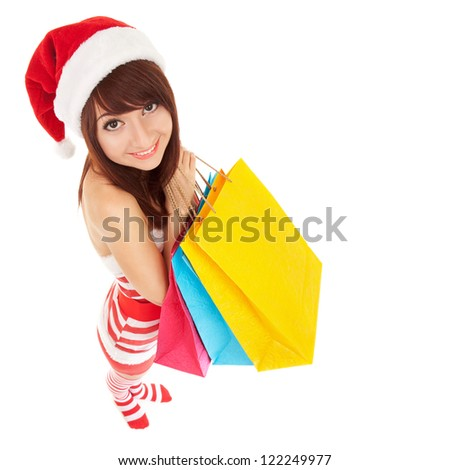 Fun santa woman with packages