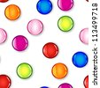 Fun seamless pattern made of glossy circles or bubbles in pale and dark pink, red, blue, lime green and orange, all with shadows over white background. - stock vector