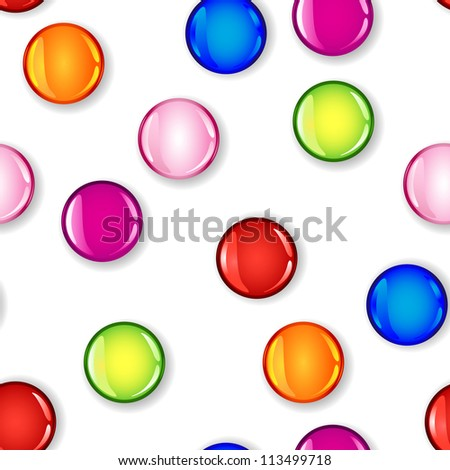 Fun seamless pattern made of glossy circles or bubbles in pale and dark pink, red, blue, lime green and orange, all with shadows over white background.