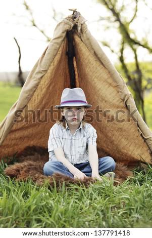 Fun tent with kids - stock photo