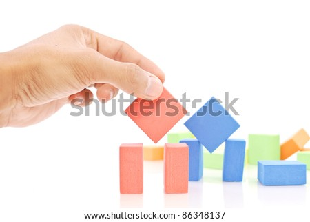 Fun with Building Blocks - stock photo