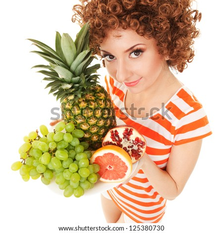 Fun woman with juicy fruits on the white background - stock photo