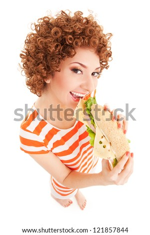 Fun woman with sandwich on the white background - stock photo