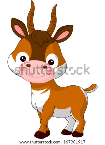 Fun zoo. Illustration of cute Antelope. Raster version.  (vector file available in my portfolio)