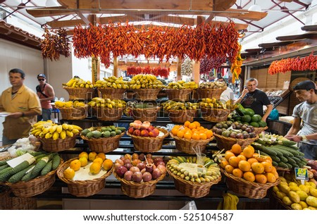 FUNCHAL, MADEIRA, PORTUGAL - SEPTEMBER 2, 2016: Fresh exotic fruits in Mercado Dos Lavradores. Funchal, Madeira, Portugal