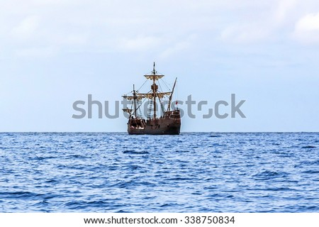 Funchal, Portugal - June 3, 2013: A replica of Christopher Columbus' ship Santa Maria off shore. The cruise is a famous tourist attraction for vacationers on the Island Madeira. - stock photo