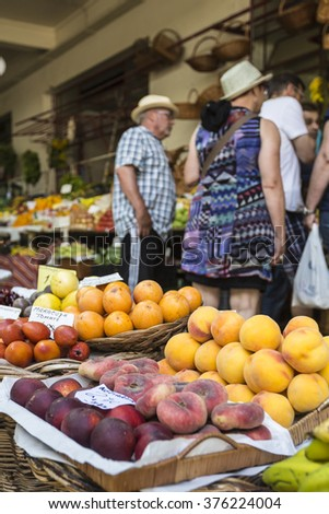 FUNCHAL, PORTUGAL - JUNE 25: Fresh exotic fruits in Mercado Dos Lavradores.on June 25, 2015 in Madeira Island, Portugal.