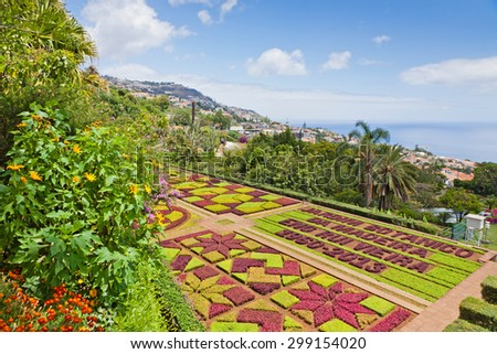 FUNCHAL, PORTUGAL - JUNE 18, 2013: Tropical Botanical Garden in Funchal city, Madeira island, Portugal - stock photo