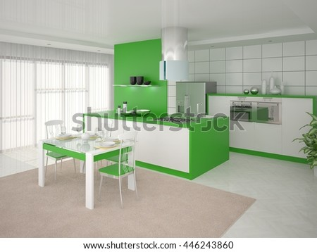 Functional convenient kitchen with green furniture, 3d rendering. - stock photo