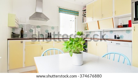 Functionalism architecture interior of a kitchen  - stock photo