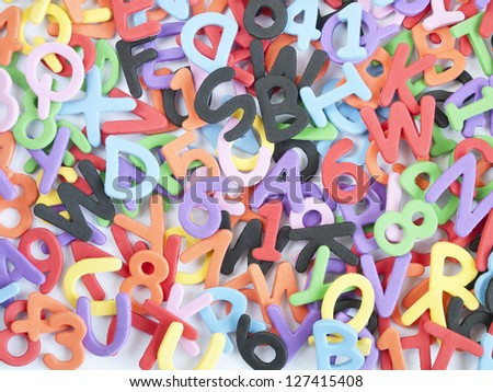 fund scrambled letters and numbers and colors - stock photo