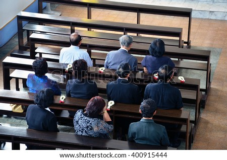 Funeral at the church - stock photo