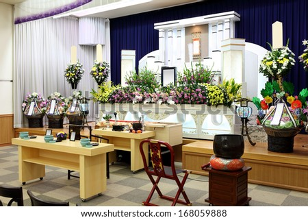Funeral home interior of japanese style - stock photo