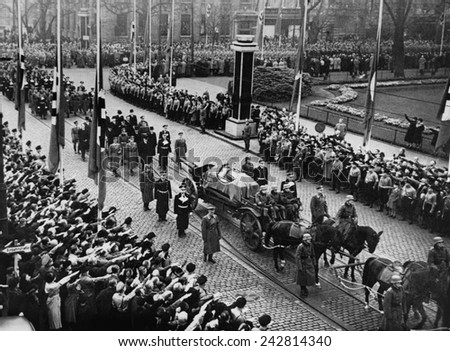 Funeral of Ernst vom Rath (1909-1938), a German diplomat assassinated in Paris in 1938 by a 17 year old exiled Jew, Herschel Grynszpan. The assassination triggered attack on German Jews.