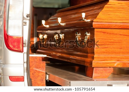 Funeral with coffin - stock photo