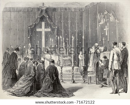 Funereal ceremony for death of  Louis I of Bavaria in Lyon, France. Original, created by Pauquet and Cosson-Smeeton, was published on L'Illustration, Jounrnal Universel, Paris, 1968 - stock photo