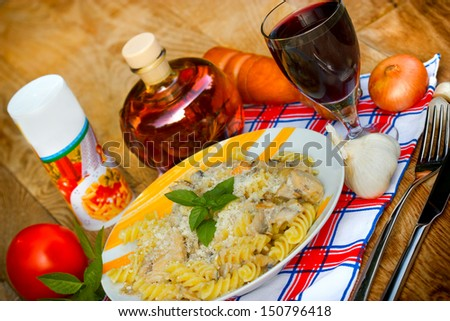 Fungi pasta on a table - stock photo