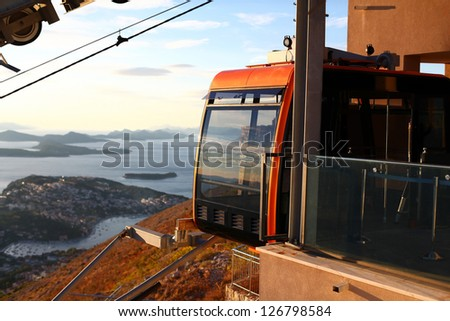 Funicular cableway station at Srd mountain with a beautiful view of Dubrovnik, Croatia - stock photo