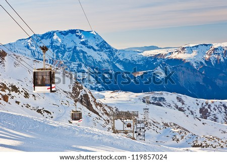 Funicular, French Alps - stock photo