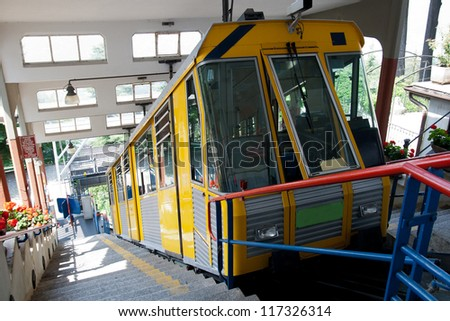 funicular from Italian city Como to village Brunate in upper station