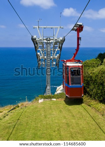 Funicular on Rosh Hanikra at the Israel's northern border from a top of hill to a seashore - stock photo