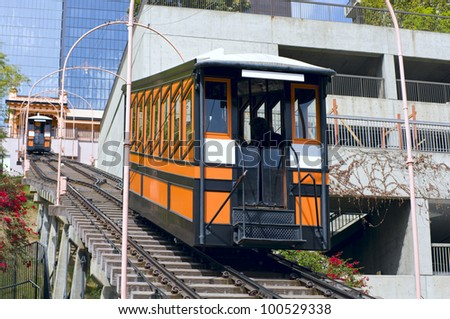 Funicular railroad at Angels Flight in Bunker Hill district of downtown Los Angeles California - stock photo