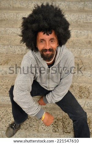 Funky Afro Man - stock photo