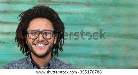 Funky afro man on rustic  background - stock photo