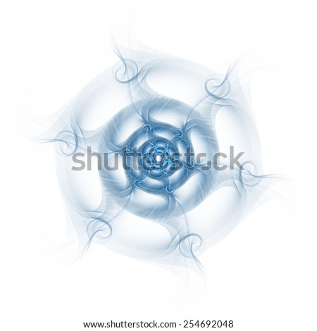 Funky blue abstract rotating web / disc design on white background  - stock photo